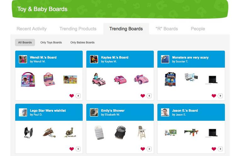 Toys 'R' Us used 8thBridge technology to create Pinterest-style toy and baby boards.