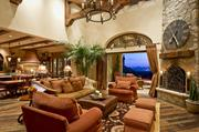 The living room of this 7,232-square-foot mansion.