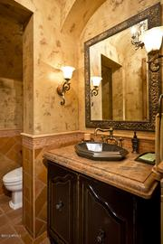 One of two powder rooms.