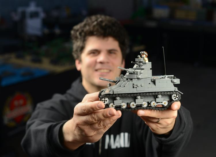 Brickmania founder Dan Siskind creates after-market Lego sets based on old military blueprints. He crowdfunded the development and production of a new Lego tank tread.  See a photo gallery of his company and its projects here.
