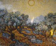 About 75 people created this Van Gogh mural in five hours. There are more than 25,000 individual Lego pieces in it.