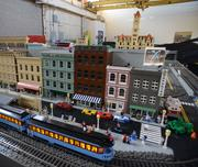 A close up of the Rice Park model built by the Twin Cities Lego Train Club.