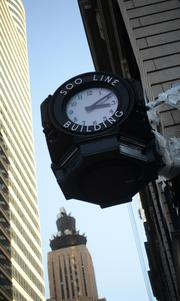 The Soo Line Building clock, at the corner of Fifth Street and Marquette Avenue, once again keeps time and is lit with a color-changing face.