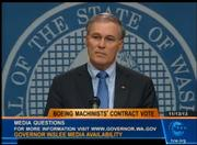 GOV. JAY INSLEE-- Gov. Jay Inslee's first months in office turned into an epic cliffhanger, or a series of them, over getting Boeing to build the 777X wide-body jet in Washington state.  For months Inslee tried to nudge Boeing into deciding on Washington with a series of incentives. Then, when Boeing seemed to follow that path by offering an early contract deal to the Machinists, Inslee helped push an $8.7 billion Boeing tax break through the Legislature as part of that package.  But the union nixed the contract offer on Nov. 13, and since then Inslee has been trying to bring the two sides together again, while maintaining a positive public attitude that the work is still the state's to lose. Still on Inslee's agenda: the transportation upgrades that Boeing also seeks, which have failed to win approval in Olympia.
