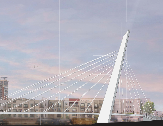 A rendering of the pedestrian bridge that would link the Gulch and Lower Broadway.