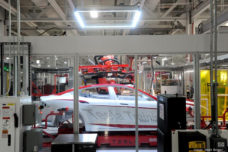 A Model S body used for training is pictured at Tesla's Fremont, Calif., plant.