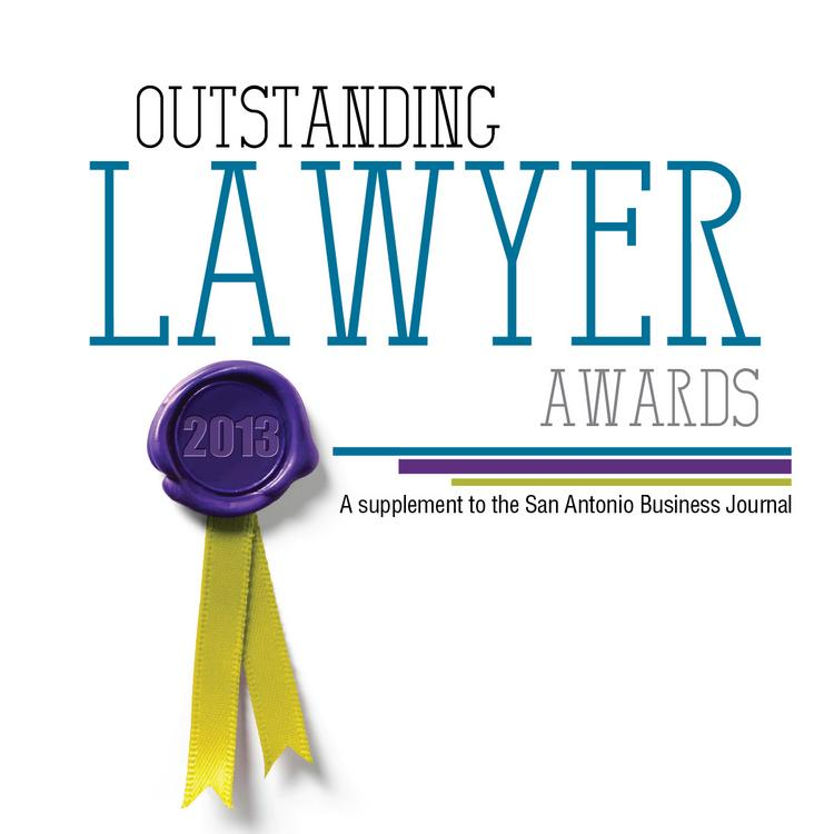 Cover of the 2013 Outstanding Lawyer Awards - San Antonio Business Journal  (Design by Cathy de La Garza; photos by Lyndsey Johnson, project editor Donna J. Tuttle)
