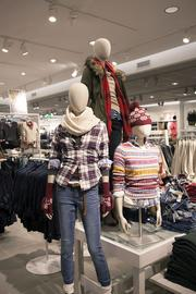 H&M displayed some of its winter apparel at the new store.