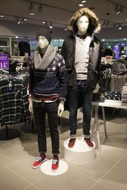 Outerwear was on display throughout the store.