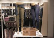 Mannequins modeled the store's jeans.