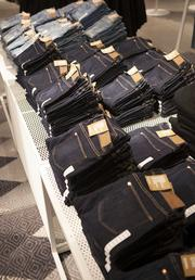 The store offers lots of apparel, including jeans.