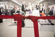 The ribbon awaited the grand opening of H&M.