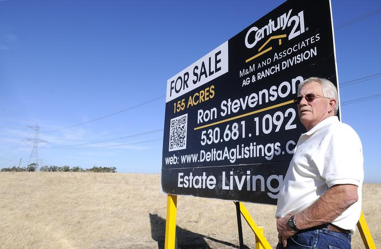 Ron Stevenson, a Century 21 Realtor specializing in ag land, is hoping to sell this property in Rio Vista. He and his family sold their own ranch in 2004 outside of Tracy.