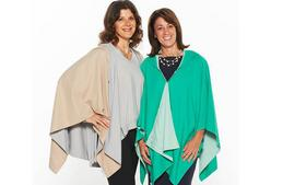 Rainraps founders from left, Stacy Struminger and Rachel Teyssier, were recent winners from the QVC Sprout program after an enthusiastic response to their reversible wraps which double as hooded rain jackets.