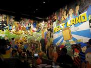 A mural conveys the fun nature of the concept.