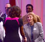 After her address, the Fist Lady shook the hand of every veteran who joined her onstage.