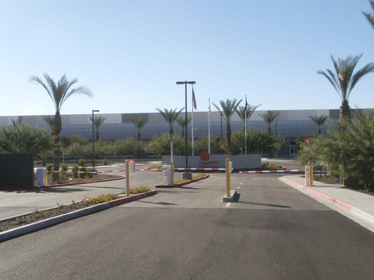 The front entrance to the future Apple plant, which was built by First Solar.