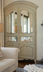Robin Colton Studio received the ASID award for best product design/special detail for the mirrored cabinet.