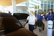 Sebastian and his mom were treated by Mercy Health to a limousine ride home to West Chester on Thursday. His dad and sister followed in a family car.