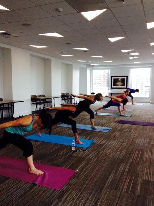 One of the wellness offerings at Baker Donelson is a Yoga at Work program.