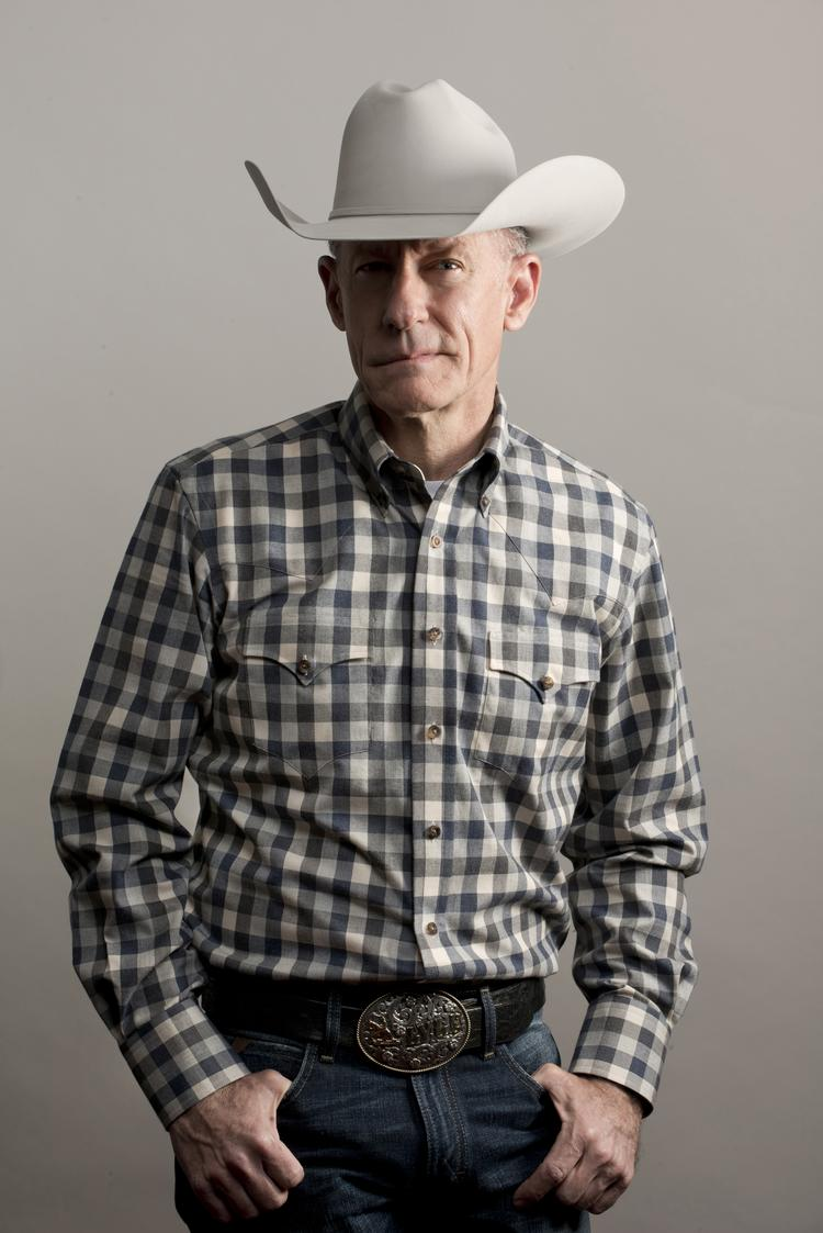 Lyle Lovett in large check western Hamilton shirt.