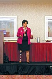 """Keynote speaker Bonnie St. John discussed overcoming challenges such as losing her leg and being black in the white-dominated sport of skiing as she encouraged women to """"write their own story."""""""