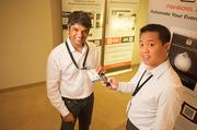 Without an app, it often takes months to organize information from events, says Uzair Dada (left, with Alex Lee).