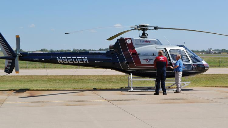 EagleMed operates a fleet of 15 medically equipped Eurocopter AS350 helicopters such as this one, along with 20 Beechcraft King Air turboprops.