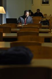 Claude Gboro studies at the Health Sciences Library at the University of Colorado's Anschutz Medical Campus for his USMLE( U.S. Medical Licensing Examination).