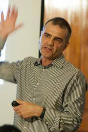 Laurence Nolan, co-director, teaches a class at Colorado Welcome Back.