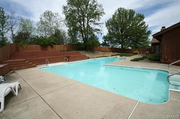 126 Ohmes Road: Out back is the L-shaped, in ground swimming pool.