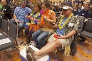 Ryan Ziemba and fellow Bridge Logistics Inc. employees, wore tropical clothing to the awards ceremony.
