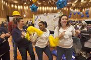 3-hab employees, who won the spirit award, dance before the awards ceremony.