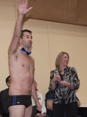 John Carroll of Aquarius Professional Staffing decided to strip down to the basics as he arrived on stage. Katie Phelan of the Business Courier was ... surprised.