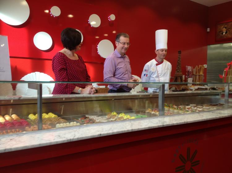 Lori Rongier, Fred Rongier and master pastry chef David Piquard in their new Gaby et Jules Patisserie.