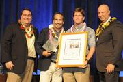 From left, Ray Vara, president and CEO of Hawaii Pacific Health; Dustin Sellers and Ben Godsey of ProService Hawaii; and Bob Charlet, publisher of Pacific Business News.