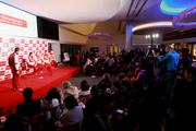 Members of the international media gathered Thursday for the press conference featuring the Scuderia Ferrari F1 racing team, held at Circuit of The Americas.