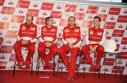 The top brass of the Scuderia Ferrari Formula One racing team gathered on stage at a press conference Thursday night at Circuit of The Americas. From left: Luca Marmorini, head of engine and electronics; Pat Fry, director of engineering; Stefano Domenicali, team principal; and James Allison, chassis technical director