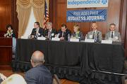 Lyn Kremer and panelists at the Philadelphia Business Journal's Health Care Reform Breakfast held at the Union League on Nov. 14.