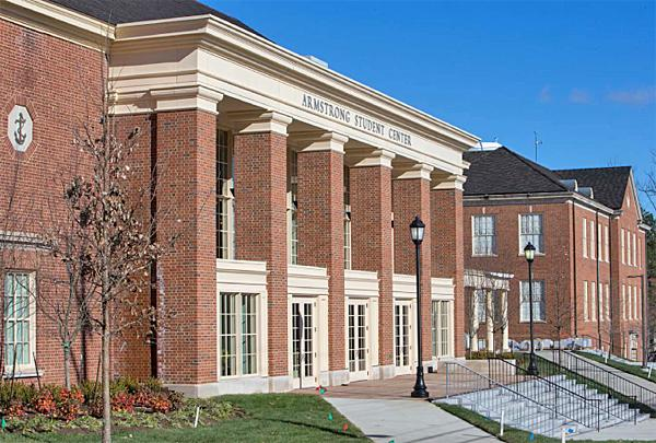 The main entrance of the student center goes into the Shade Family Room, which was formerly Rowan Hall.