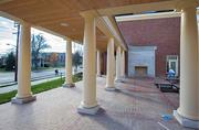 East Court includes an indoor/outdoor fireplace that will be shared with the Shade Family Room.