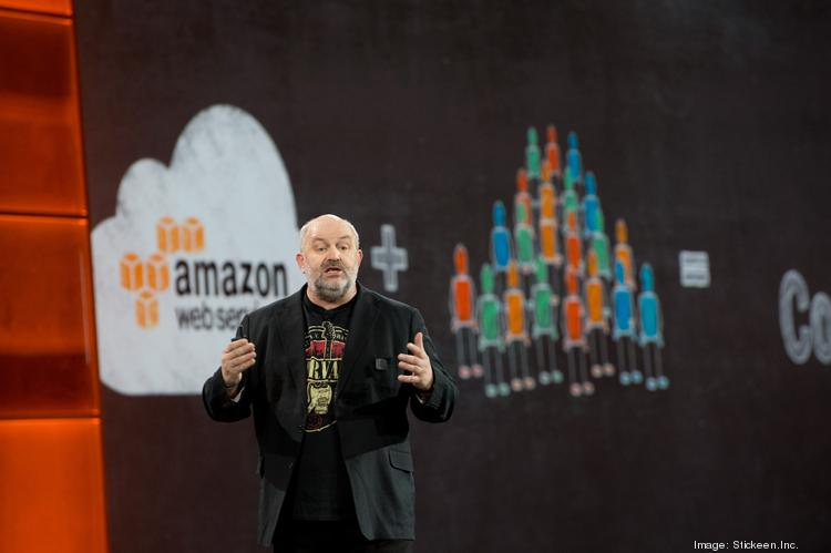 """Werner Vogels, Amazon chief technology officer, gave a keynote address Thursday at the AWS re:Invent conference in Las Vegas. """"We build teams you can feed with two pizzas,"""" he said."""