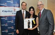 From left, Jon Witter, honoree Manjula Aggarwal of Cvent and Alex Orfinger.