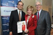 From left, Jon Witter, honoree Linda Mathes, CEO of the American Red Cross in the National Capital Regionand Alex Orfinger.