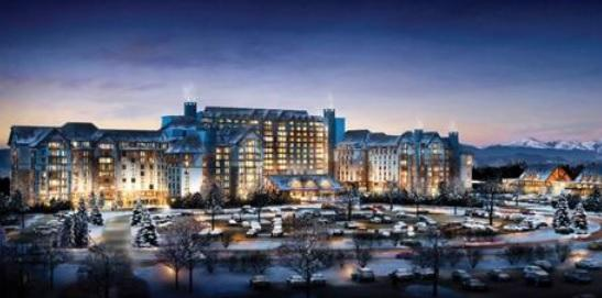 An artist's rendition of the proposed Gaylord Rockies hotel and convention center in Aurora.