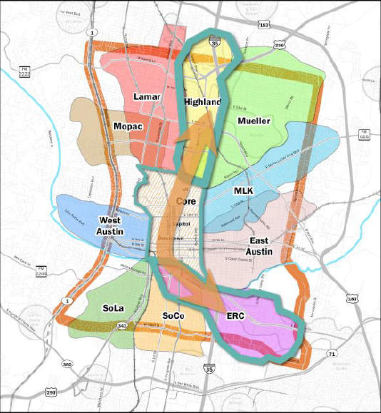 Austin will focus its efforts on building a transportation corridor stretching from the Highland area south through downtown and southeast to the East Riverside area. More specifics, and a ballot vote to fund the investment, are expected to come in 2014.