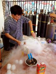 Andrew Quevedo stirs liquid nitrogen mixed with mango juice for Miami-based Kryogenifex, a company that specializes in -- seriously -- sorbet and special effects.