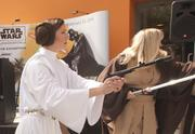 Princess Leia and the Rebel Alliance arrived to battle the stormtoopers in front of the Tech Museum Thursday morning.