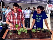 Jake McPhee, left, and Michael Lazzara, show off their aquaponics gardening kit, which they are launching for sale under the name GrowYo EcoGarden.