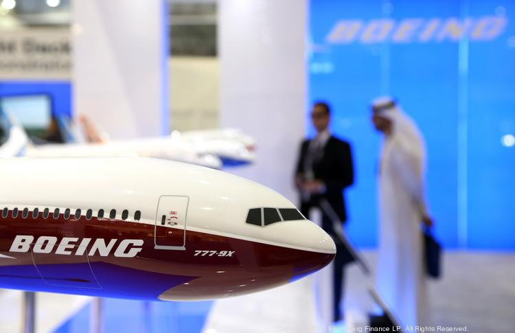 A model of Boeing's 777X aircraft sits on display at the company's stand during the 13th Dubai Airshow at Dubai World Central in Dubai, United Arab Emirates.
